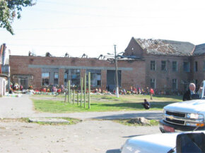Outside of the Beslan school gymnasium