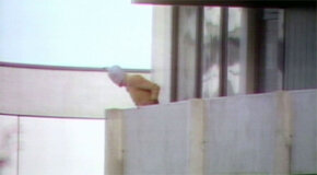 """Still photo from the documentary """"One Day in September"""" showing one of the hostage-takers at the 1972 Munich Olympics"""