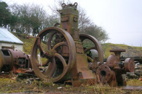 A Petter (Yeovil made) hot bulb engine at Laigh Dalmore quarry in Stair, East Ayrshire, Scotland. See more pictures of engines.