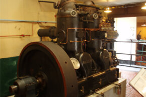 A 2-cylinder, 70 horsepower hot bulb engine built by W.H. Allen & Sons in 1923. The engine is on display at the Internal Fire Museum of Power, Tangygroes, Wales, UK.