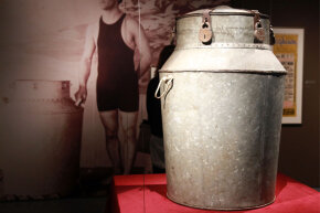 A milk can used by Harry Houdini on display in 2010 at New York City's Jewish Museum.