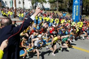 The elite men start the 114th running of the Boston Marathon in Hopkinton, Mass., Monday, April 19, 2010.