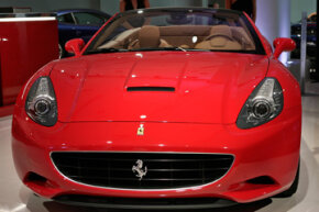 A Ferrari California on display at the Los Angeles Auto Show.