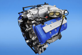A larger, more-efficient supercharger is critical to helping produce the massive 650 horsepower in the 2013 Ford Shelby GT500. The TVS series 2300 creates 2.3 liters of displacement and is a unique design to the 5.8-liter engine.