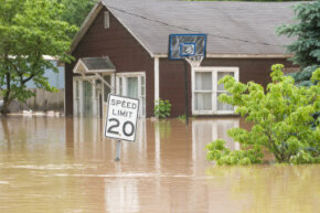 Uncontrolled floodwaters in the American Midwest.