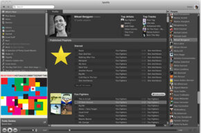 The Spotify interface looks and feels a lot like Apple's iTunes program. Some people liken Spotify to having just about every song in iTunes anywhere you have an Internet connection.