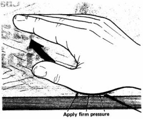 Apply oil liberally until the wood stops absorbing it; working along the grain, rub it firmly into the wood with the heels of your hands. Then wipe off all excess oil.