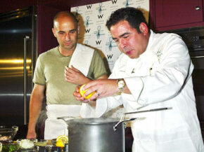 Celebrity chef Emeril Lagasse kicks it up a notch with tennis star Andre Agassi.