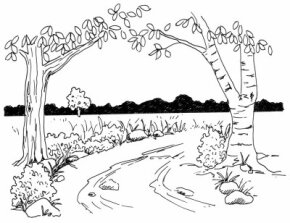 Learn how to draw this rural lane landscape.