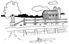 Learn how to draw this barn and pond landscape.