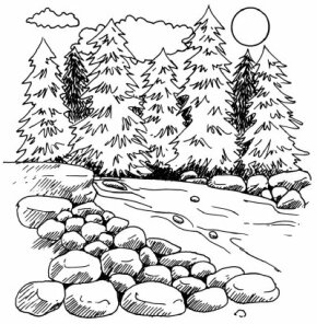 Learn how to draw this mountain stream landscape.