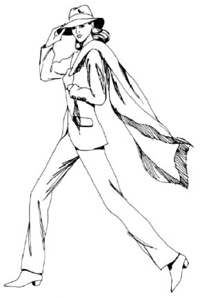 Learn how to draw a walking woman in a pantsuit with clear step-by-step instructions.