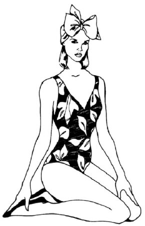 Learn how to draw a woman in a bathing suit following step-by-step instructions.