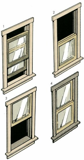 ©2006 Publications International, Ltd Paint double-hung windows in the sequence shown, moving the top and bottom sashes for access to all surfaces.