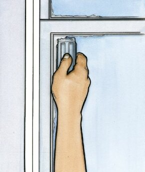 ©2006 Publications International, Ltd. Use a razor blade scraper to remove dry paint from glass. Avoid breaking the seal between the paint and windowpane.