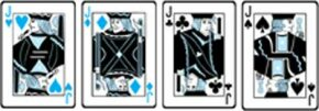 Avoid these cards, which score -4, -3, -2, and -1 points, respectively.