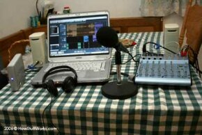 The complete Buffalo Live! Music Podcast setup. This is an example of a portable podcast rig, used to record interviews and performances at clubs where bands are playing.