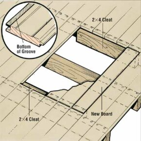 Nail a 2X4 cleat to each outside joist and set the new boards into the opening. You'll have to cut off the bottom of the groove on the last board.