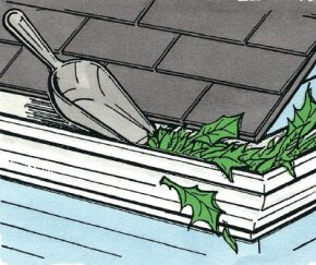 Gutters must be kept clean to prevent overflow from damaging your house.