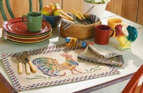 Stencil these Rooster Table Linens.
