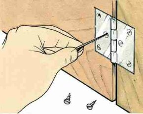 Loose hinge screws can be tightened by filling the hole with wooden toothpicks dipped in glue and trimmed flush.
