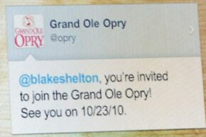 The Grand Ole Opry used Twitter to announce to fans -- and to the performers themselves -- the lineup for the first concert at the Opry after it reopened following May 2010's devastating floods in Nashville, Tenn.