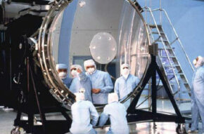 Preflight inspection of the Hubble Space Telescope's primary mirror.