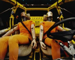 They're highly advanced, but these dummies can't react to an approaching collision. A human crash test dummy can often provide better results.