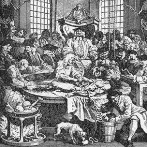 In this 1751 woodcut, the anatomical dissection of a convicted murderer takes place in the surgeon's hall. In the 18th century, only the bodies of executed criminals could legitimately be used for this purpose.