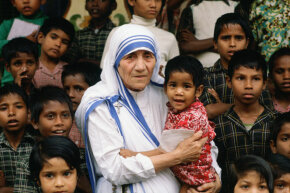 Mother Teresa at her mission in Calcutta, India in 1980.