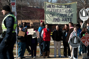 Northwestern High School students and supporters counter-protesting against the Westboro Baptist Church in Hyattsville, Maryland on March 1, 2011.