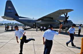 A WC-130J Hurricane Hunter on display at Guatemala's air force base in Guatemala City in March 2008.