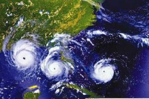 This photo is a composite of three days' views (Aug. 23, 24 and 25, 1992) of Hurricane Andrew as it slowly moved across south Florida from east to west.