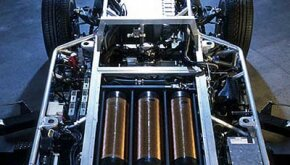 The hydrogen tanks and fuel-cell stack in the Hy-wire