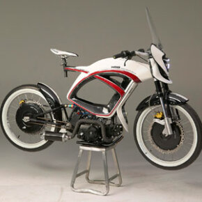 The three-in-one Hybrid Sports Bike combines pedal power with electric and gas motors.