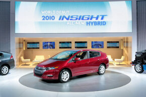 The production version of the all-new 2010 Honda Insight, a dedicated gasoline-electric hybrid vehicle, made its world debut at the North American International Auto Show in Detroit, Mich., on January 11, 2009. See hybrid car pictures.