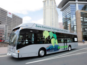 A hydrogen fuel cell powered bus leaves the Connecticut Convention Center in Hartford, Conn., for a demonstration ride.