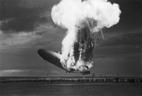 The German-designed and built passenger airship the Hindenburg (LZ-129) catches fire as it attempts to land in Lakehurst, N.J., May 6, 1937.