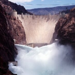 Outflow during a test at the hydropower plant at the Hoover Dam, located on the Nevada-Arizona border. See more pictures of famous landmarks.