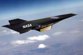 This artist's depiction shows NASA's X-43A Hyper-X research vehicle under scramjet power in flight. Scramjet technology is one of the specialized adaptations thought to be key to hypersonic flight.