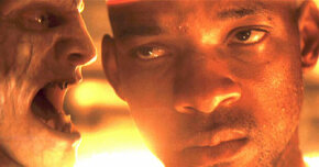 "Will Smith with a CG zombie in ""I Am Legend"""