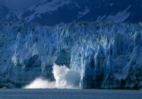 The Hubbard Glacier calving in Alaska