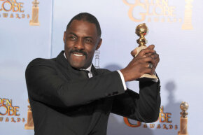 "Actor Idris Elba in the press room with the Best Performance by an Actor in a Mini-Series or a Motion Picture Made for Television award for ""Luther,"" at the 69th Annual Golden Globe Awards in 2012."