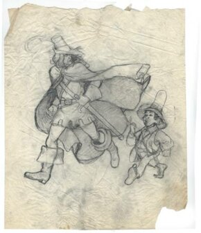 An early sketch of Aragorn and Frodo