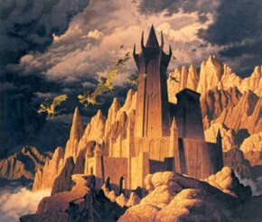A finished painting depicting the Dark Tower