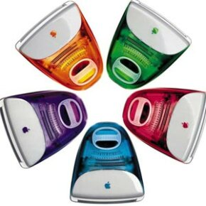 "Apple eventually released an array of candy-colored iMacs. This assortment was featured dancing across the screen to The Rolling Stones song ""She's a Rainbow"" in a popular ad campaign."