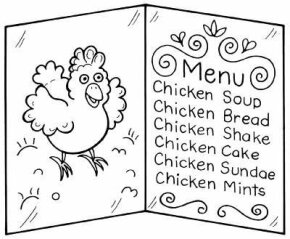 Think of real food you would serve, or dream up funny menu items.