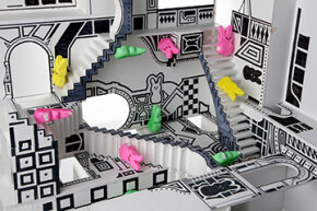 """This diorama puts Peeps rabbits in the labyrinthine black-and-white geometry of M.C. Escher's original work """"Relativity."""" Escher was the stand-out artist for impossible shapes."""