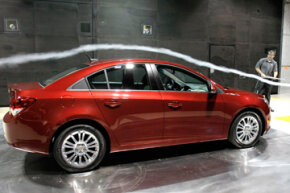 A 2011 Chevrolet Cruze ECO is tested in the world's largest automotive wind tunnel during a commemoration of the 30th anniversary of the General Motors Aerodynamics Laboratory in Warren, Mich.