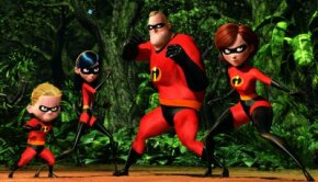 From left to right, Dash, Violet, Mr. Incredible and Elastigirl